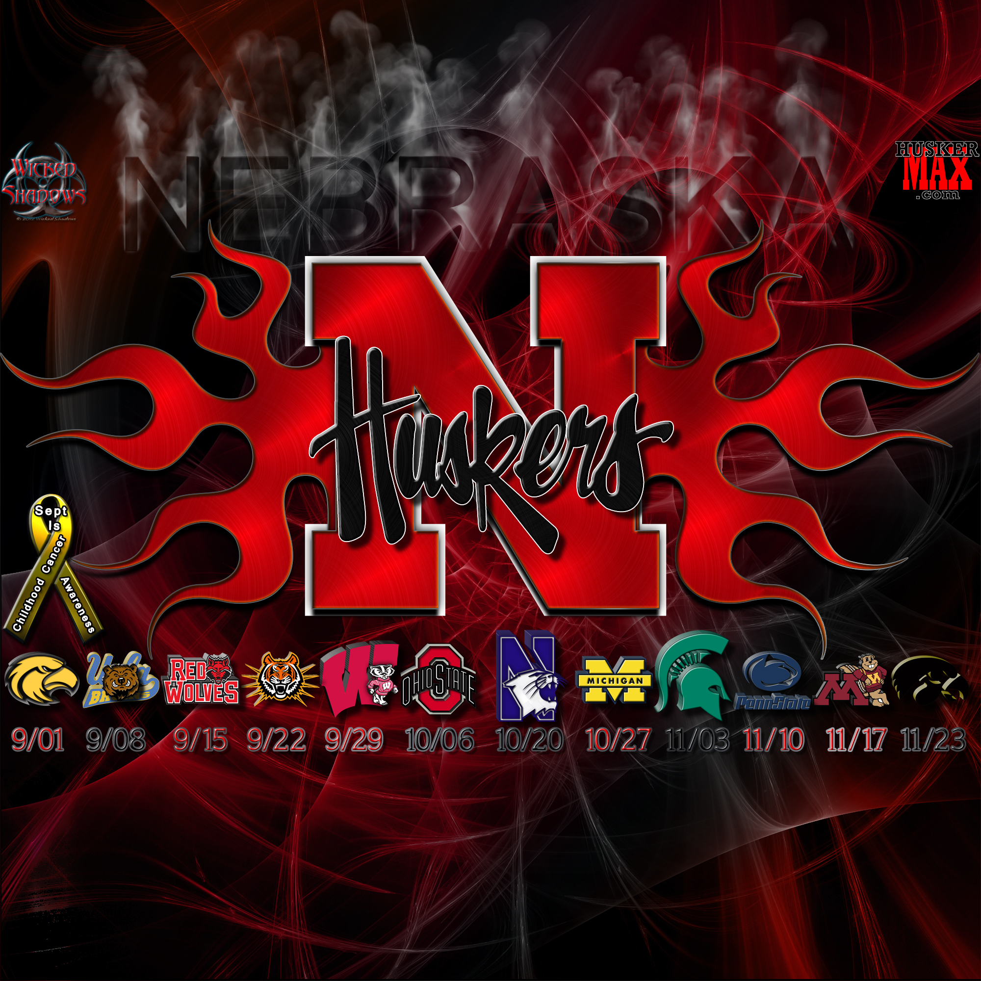 Nebraska Huskers 2012 football schedule wallpaper 2000x2000