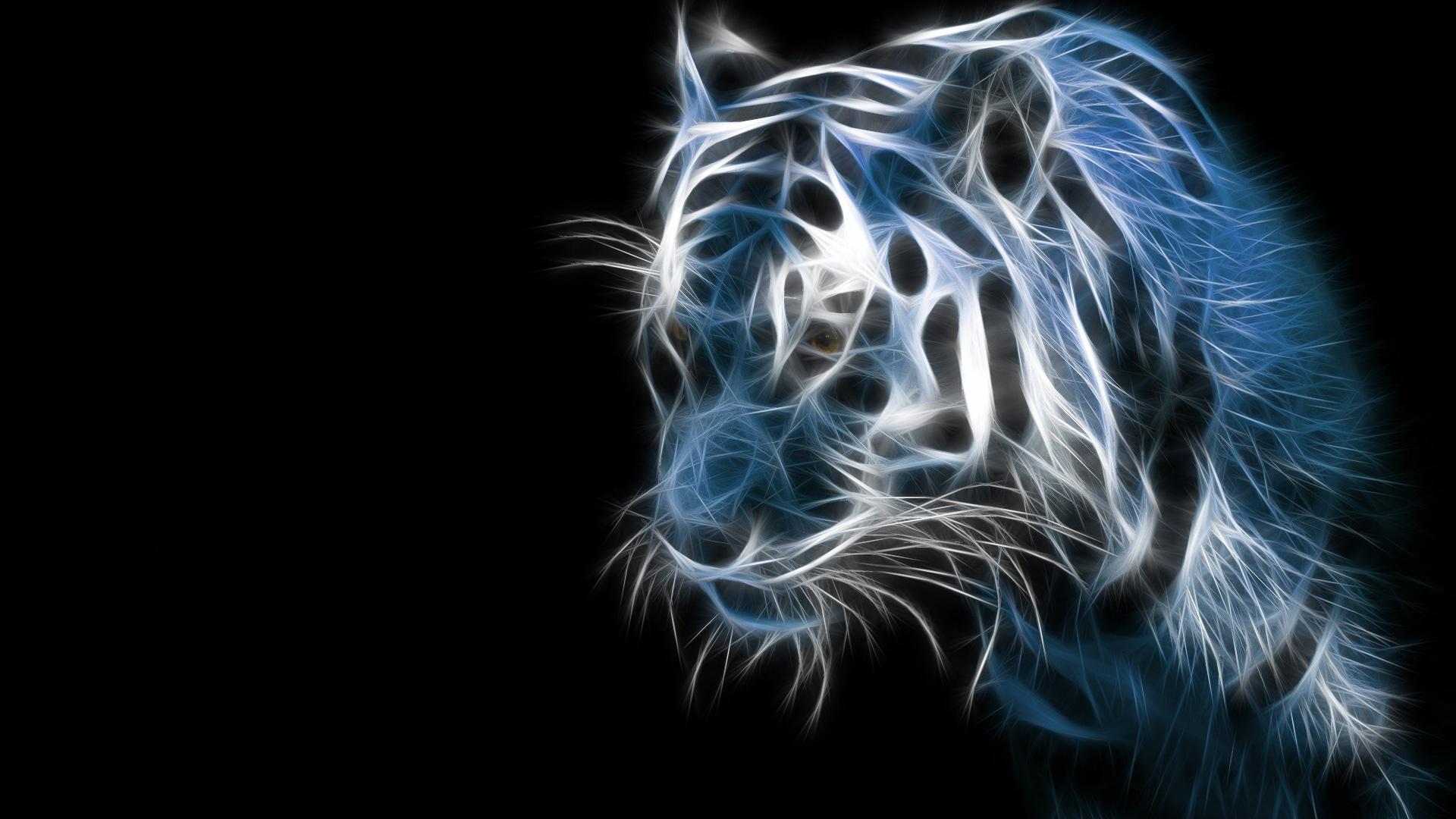 neon tiger black desktop wallpaper 1920x1080