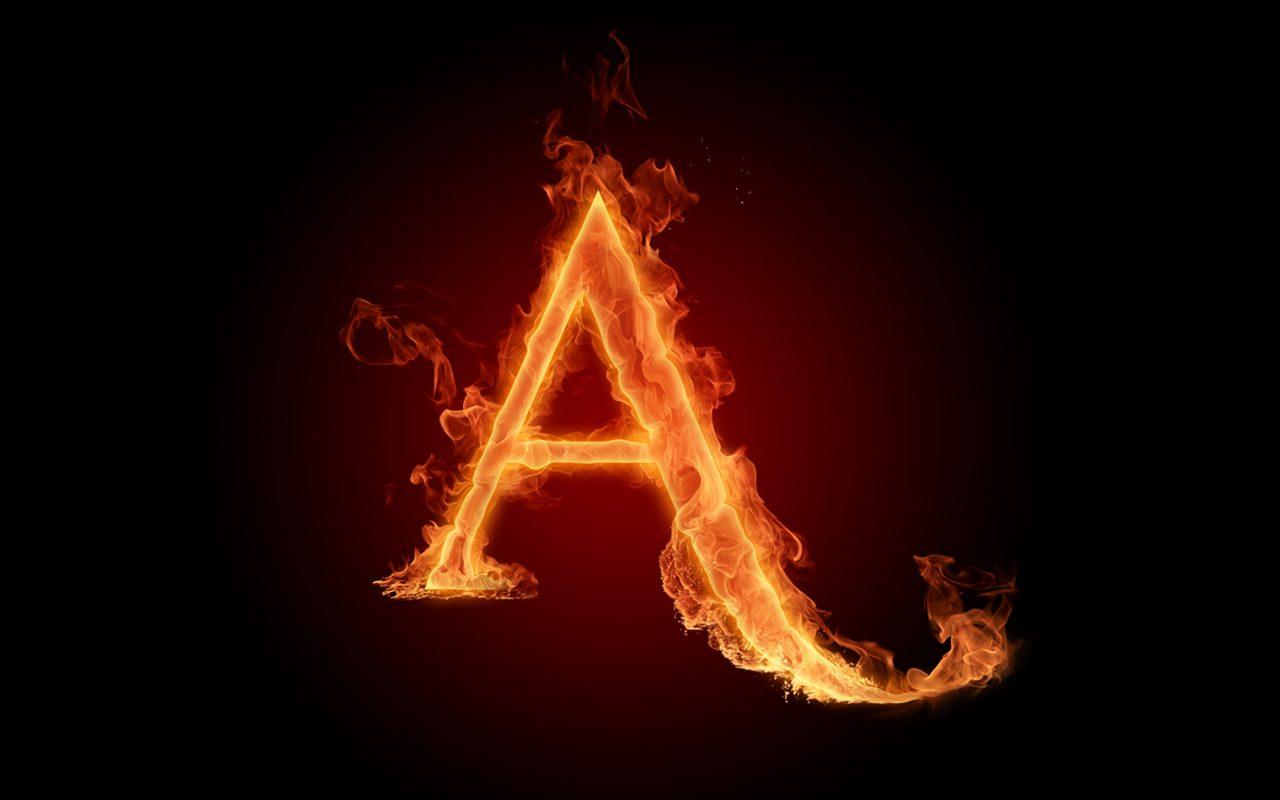 Letra A Fuego Fire Flames A Alphabet wallpaper download 1280x800