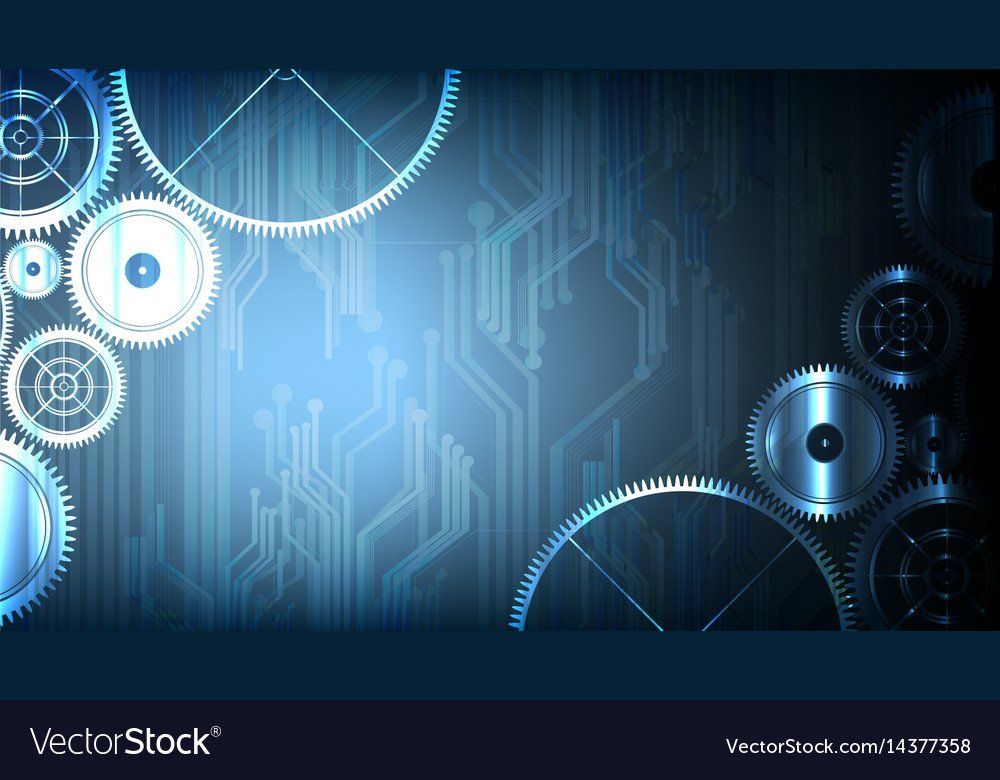 Abstract technological gears on circuit background 1000x780