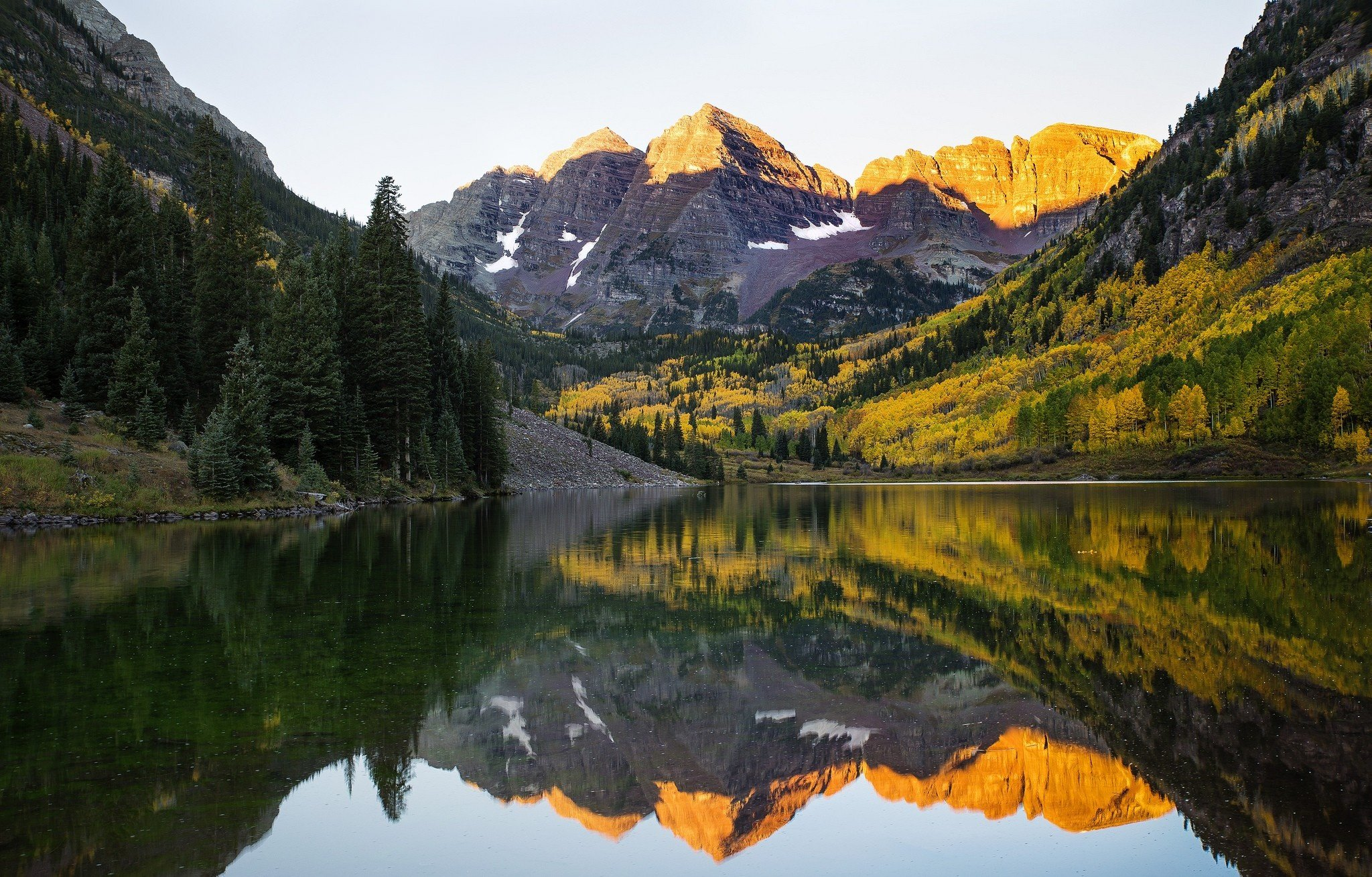 Lake mountains reflection forest snow forest Maroon Bells Colorado 2048x1308