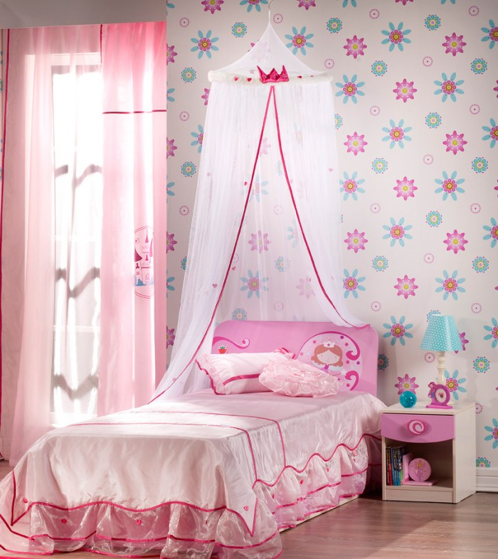 Pretty Pink Bedroom Floral Wallpaper Beautiful Tween Girl Bedroom 700x786
