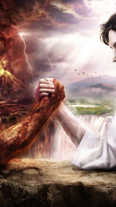 god devil jesus christ satan good vs evil lucifer statan arm wrestle 480x854