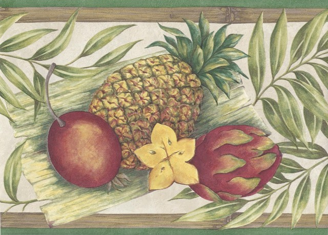 Green Bamboo Tropical Fruits Wallpaper Border   Kitchen Bathroom 640x459