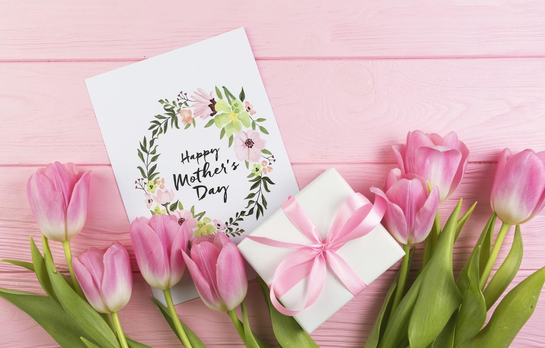 Wallpaper gift Love bouquet tulips wood postcard Celebration 1332x850