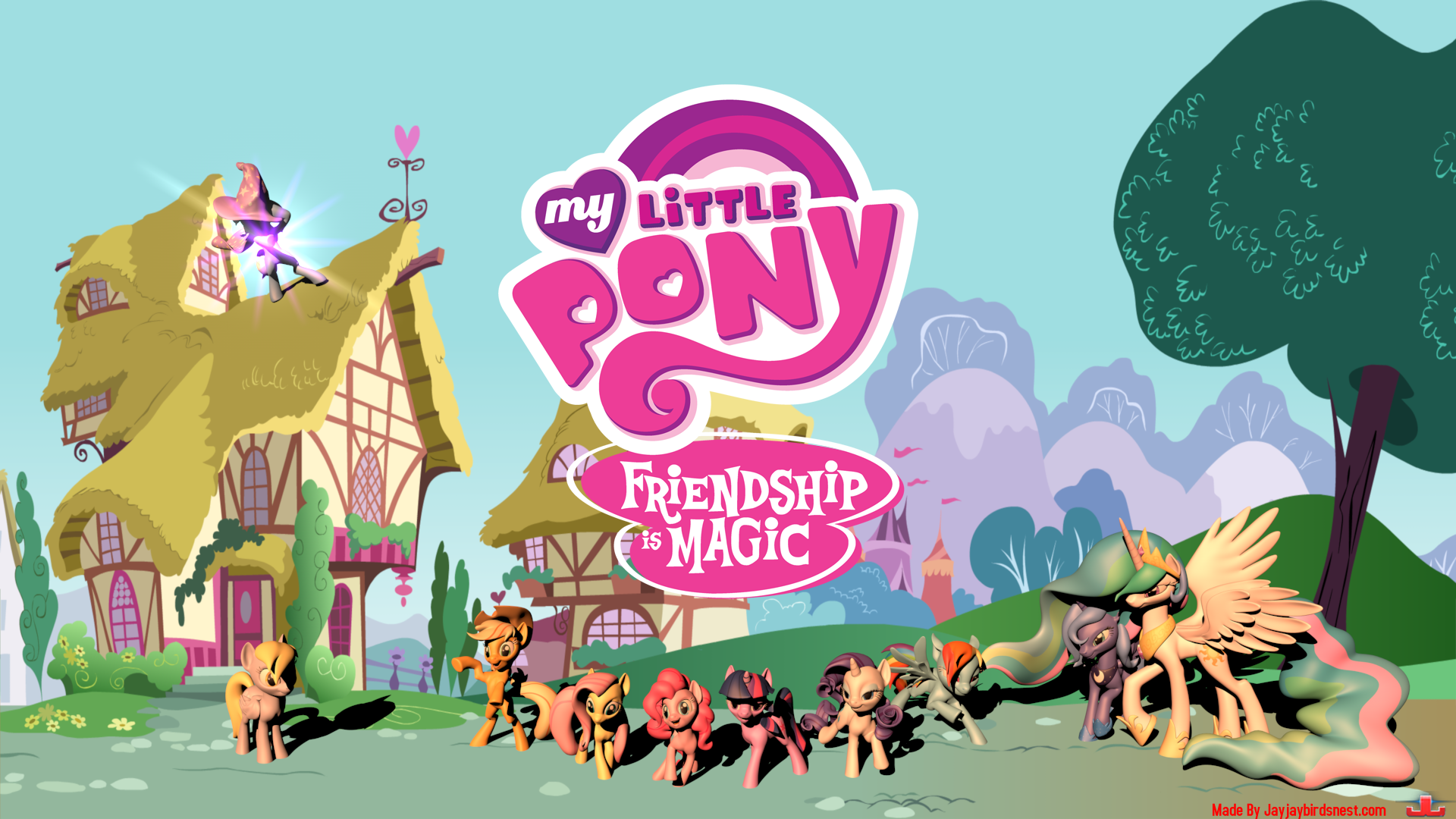 My Little Pony FIM 3D Wallpaper by jayjaybirdsnest on 1920x1080