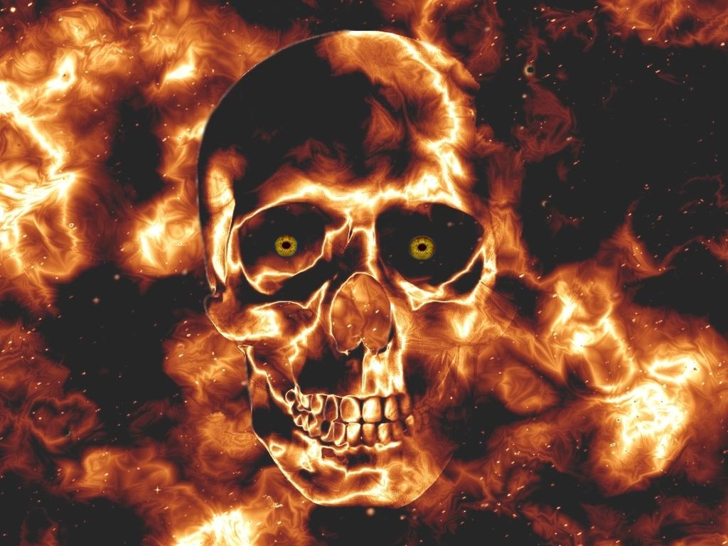 Flame Skull Wallpaper 1024x768