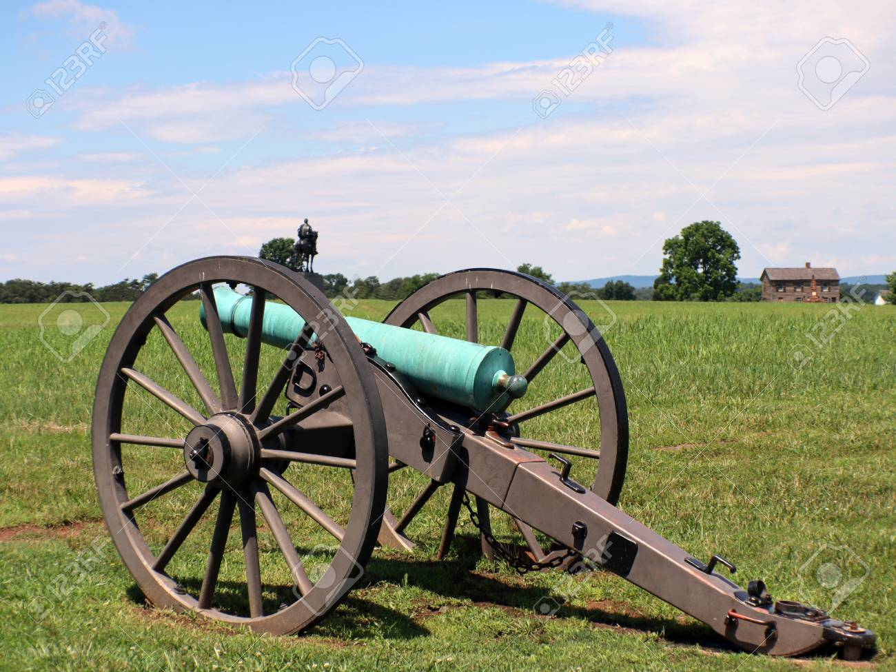 Civil War Cannon With House And Man On A Horse In The Background 1300x975