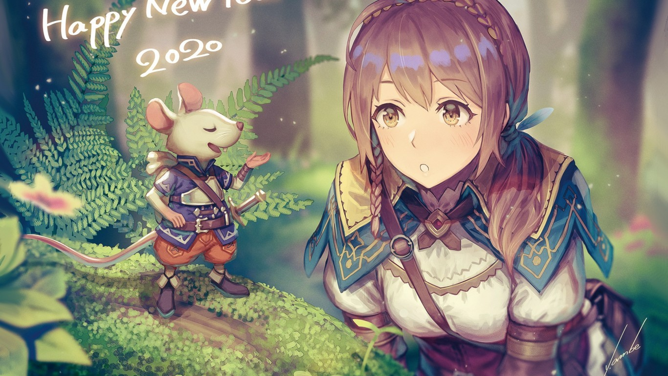 Download 1366x768 Anime Girl Adventurer Forest Light Armor 1366x768