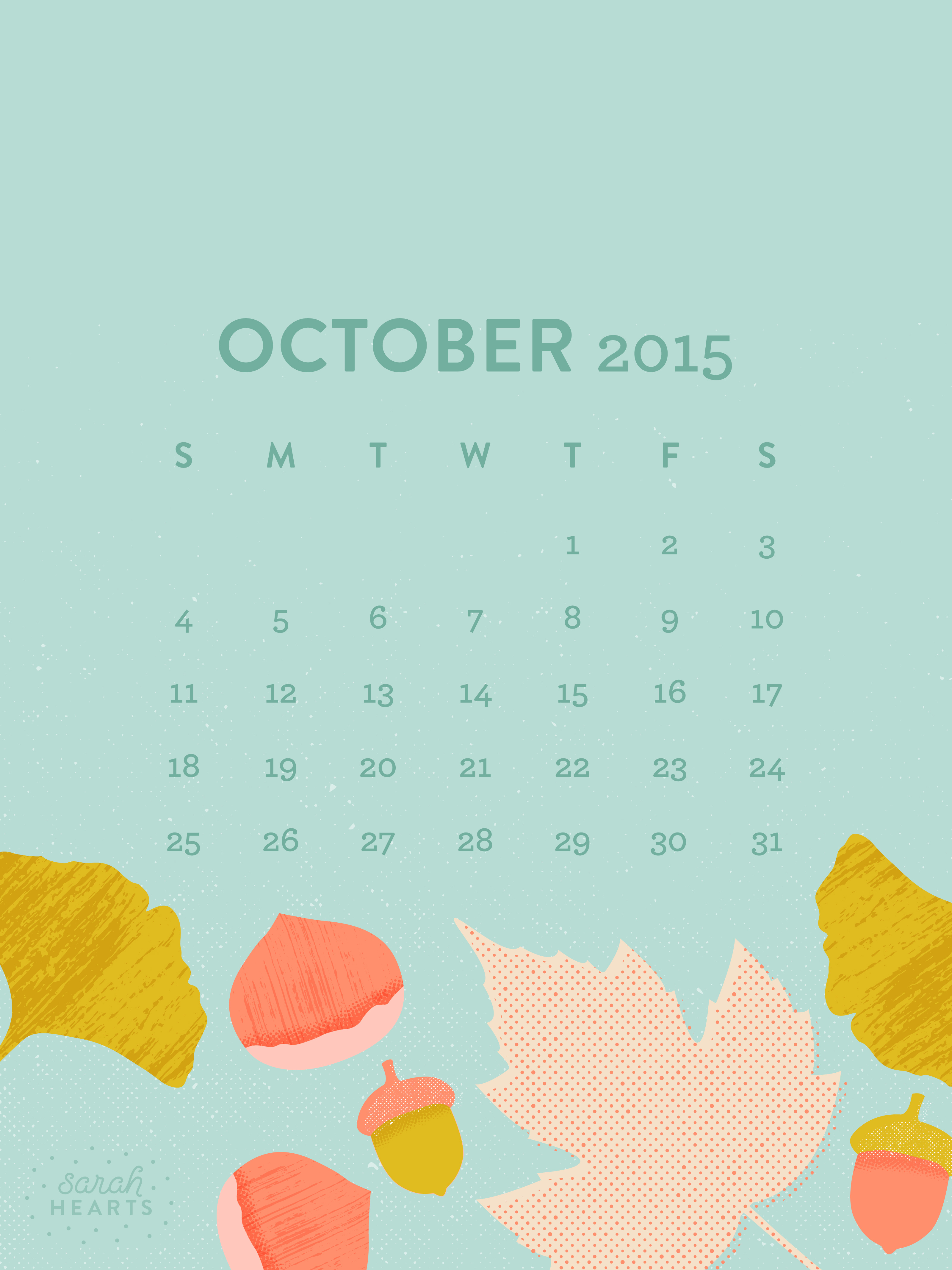 October 2015 Calendar Wallpaper   Sarah Hearts 3200x4267