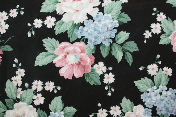 Vintage Wallpaper   Bold Floral on Black Floral Vintage Wallpaper 570x380