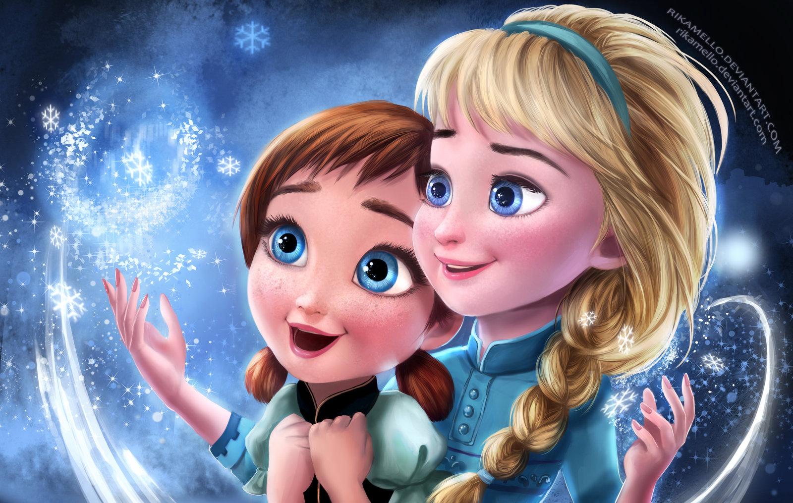 Frozen Elsa Anna Digital Fan Art Wallpapers 1600x1015