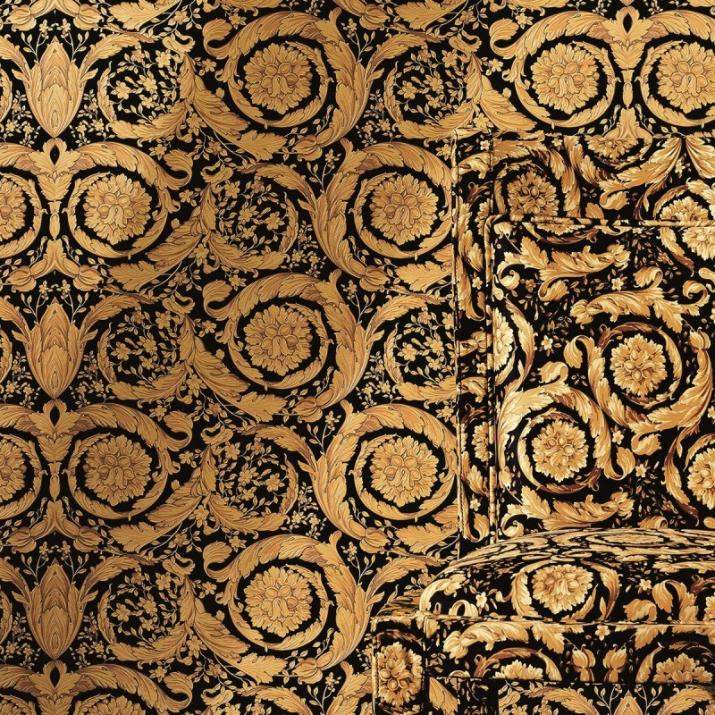 Versace Home Barocco Flowers Black Gold Luxury 70cm Wallpaper by 800x800
