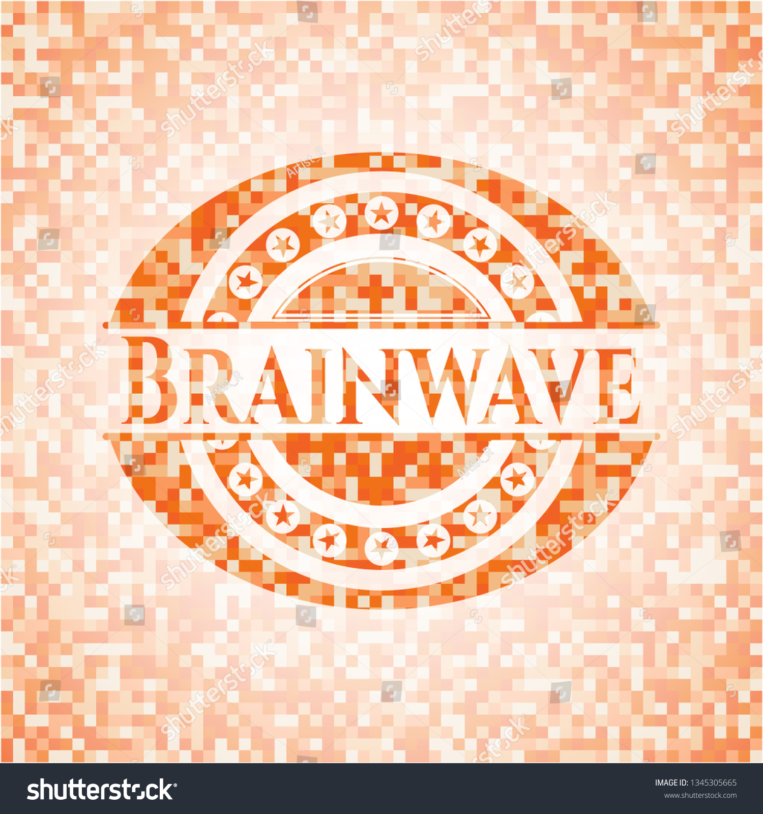 Brainwave Abstract Orange Mosaic Emblem Background Stock Vector 1500x1600