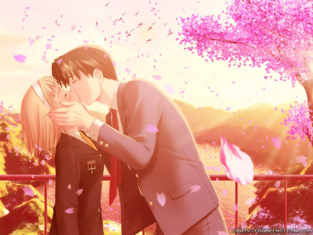 Anime Happy V Day Wallpaper love Love kiss pic Love couple 1024x768