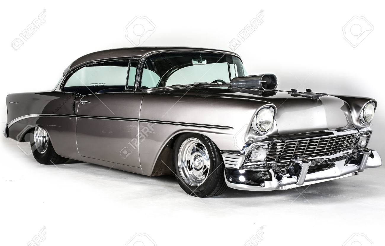 1956 Chevrolet Coup With Supercharger Isolated On White Background 1300x832