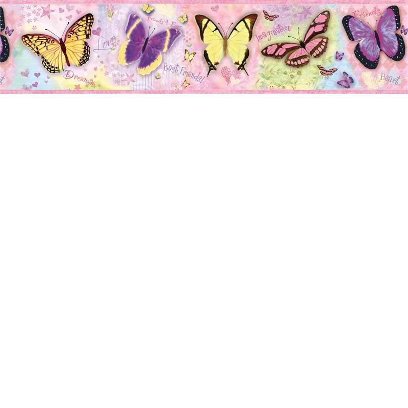 Pink BFF Butterflies Wallpaper Border   Baby Nursery Kids 800x800
