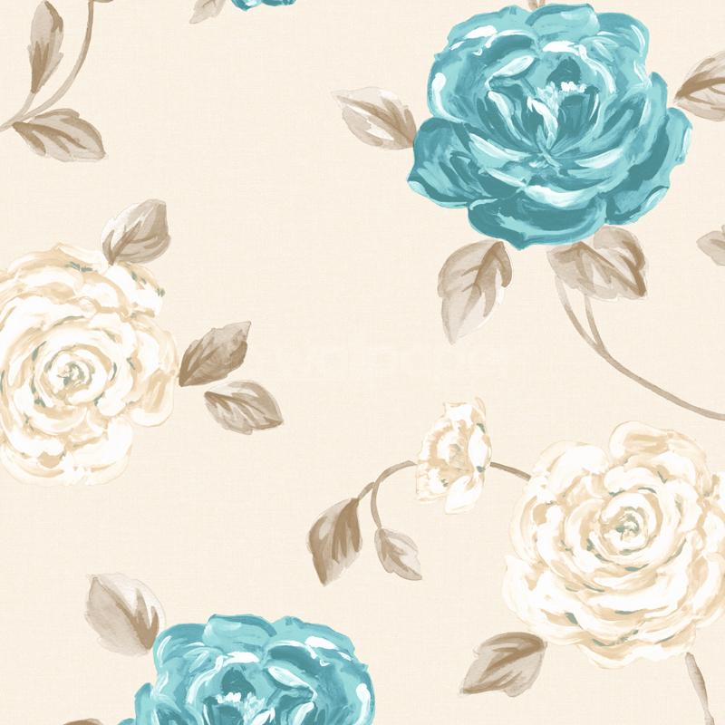 Muriva Fleur Floral Blue Beige Wallpaper 122503 800x800