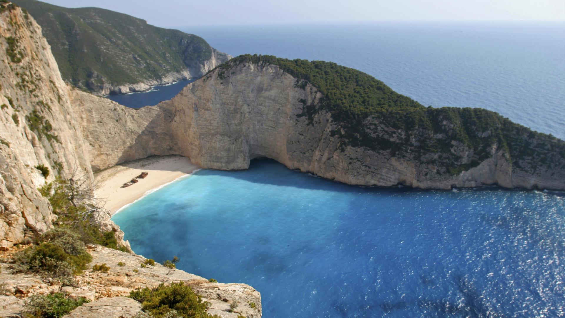 Wallpaper lagoon sand rock crest greece zakynthos island 1920x1080