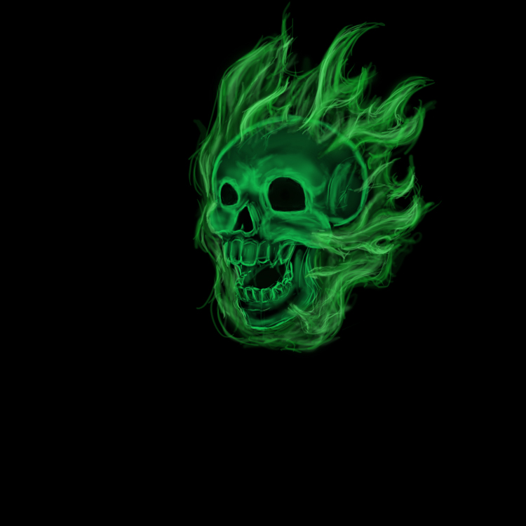 Green Flame Skull Wallpaper Flaming green skull by 750x750