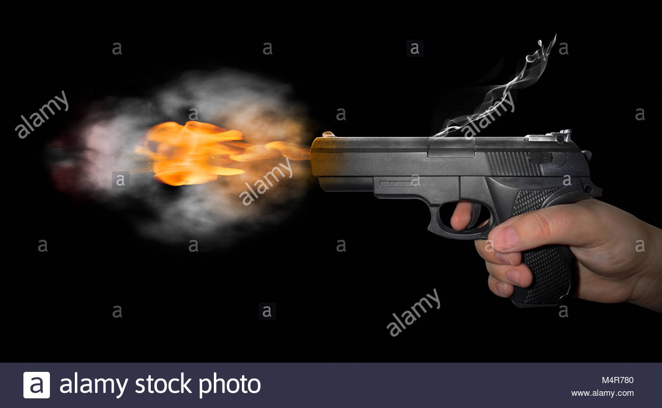 gun shot with smoke on black background Stock Photo 175072912   Alamy 1300x802