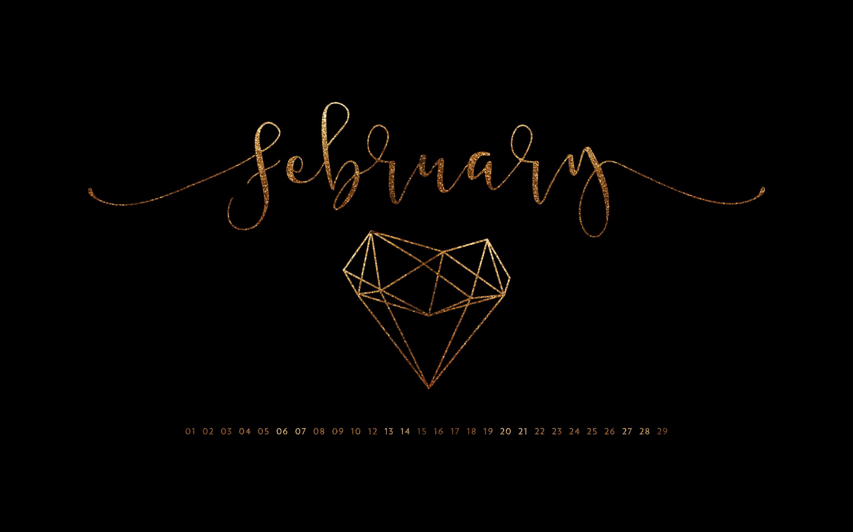 February 2016 Desktop Calendar Wallpaper Paper Leaf 2880x1800