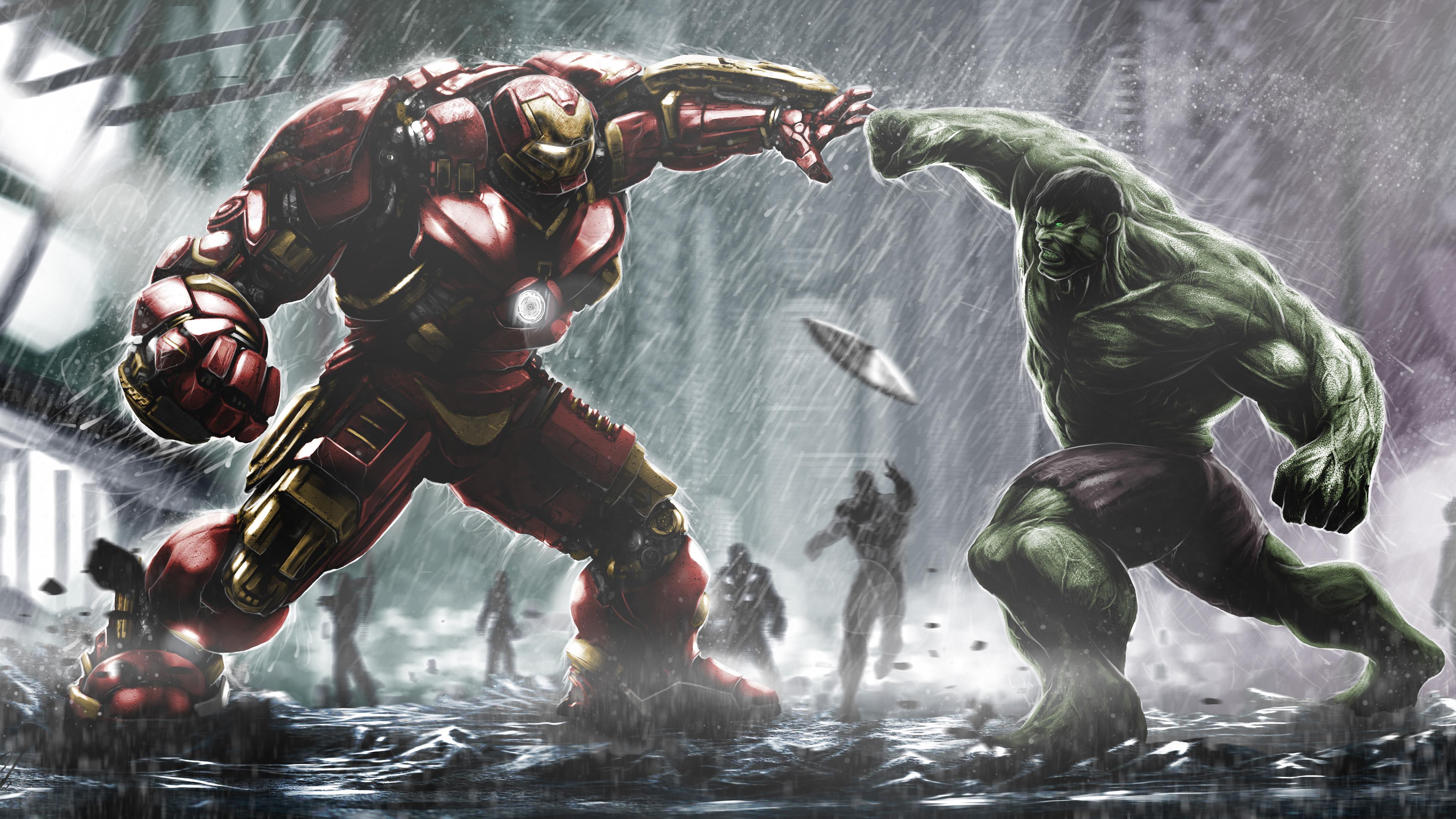 Hulkbuster Ironman Vs Hulk Wallpapers HD Wallpapers 3840x2160