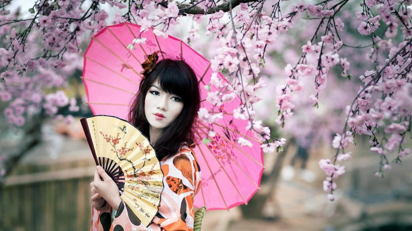 Splendid geisha HD desktop wallpaper Widescreen High 1366x768