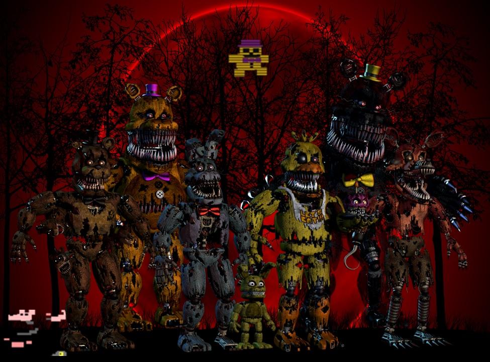 ALL FNAF 4 ORIGINAL NIGHTMARES  WALLPAPER  by DestroyChaos on 975x720