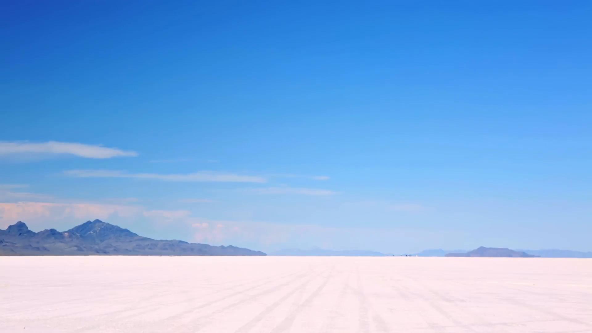 Hot Summer day at Bonneville Salt Flats Utah Stock Video Footage 1920x1080