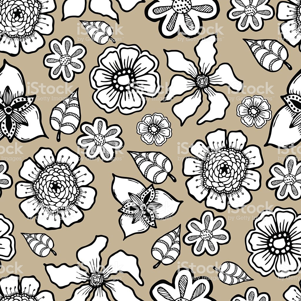Ornate Floral Pattern With Flowers Doodle Sharpie Background 1024x1024