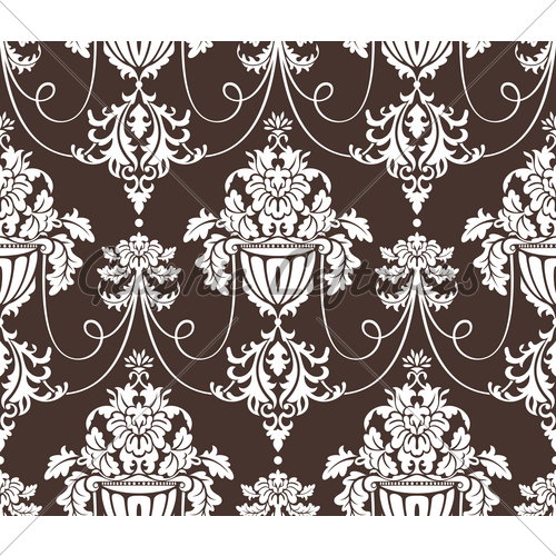 Seamless Damask Wallpaper Vector Illustration 500x500