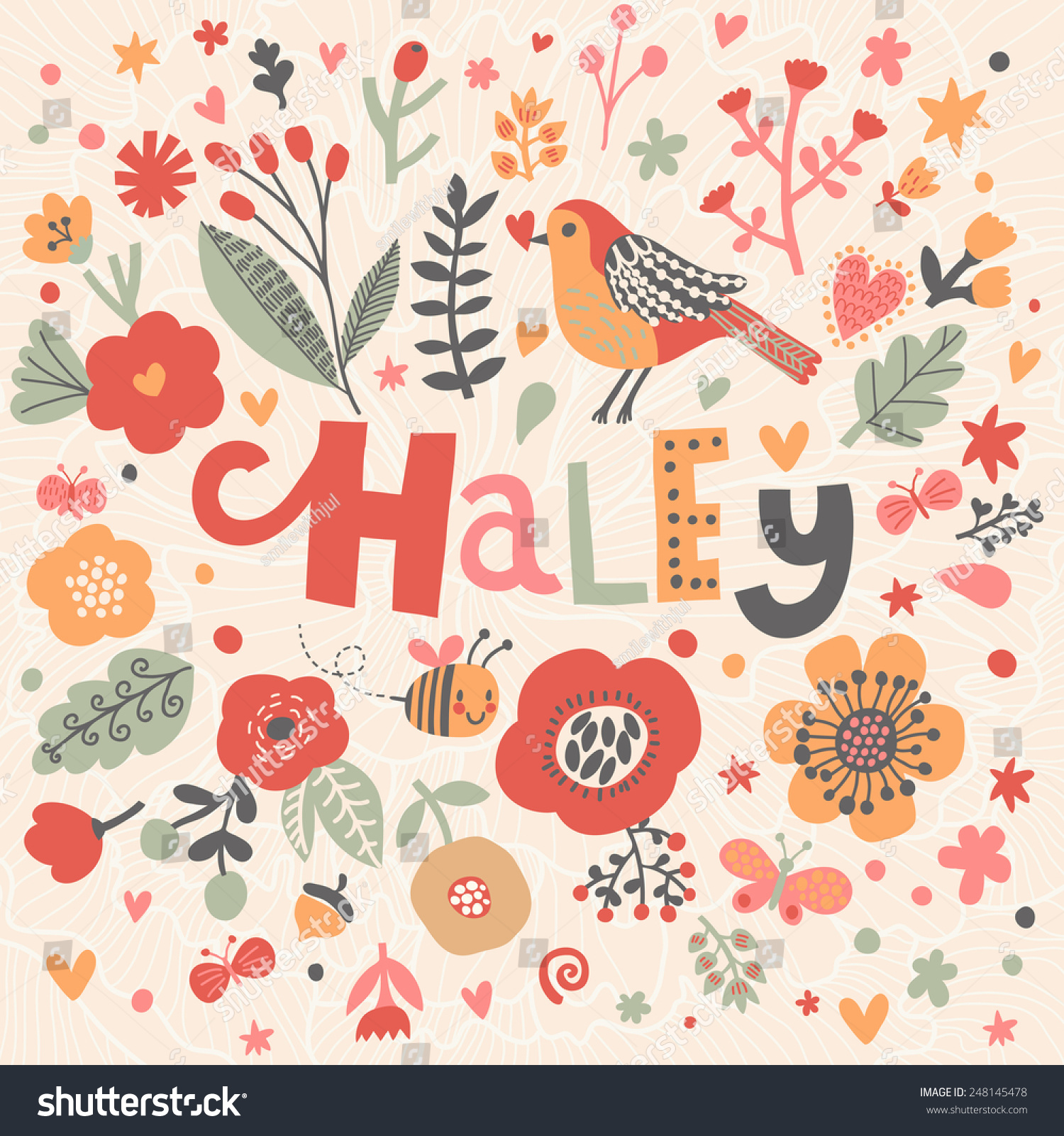 Bright Card Beautiful Name Haley Poppy Stock Vector Royalty 1500x1600