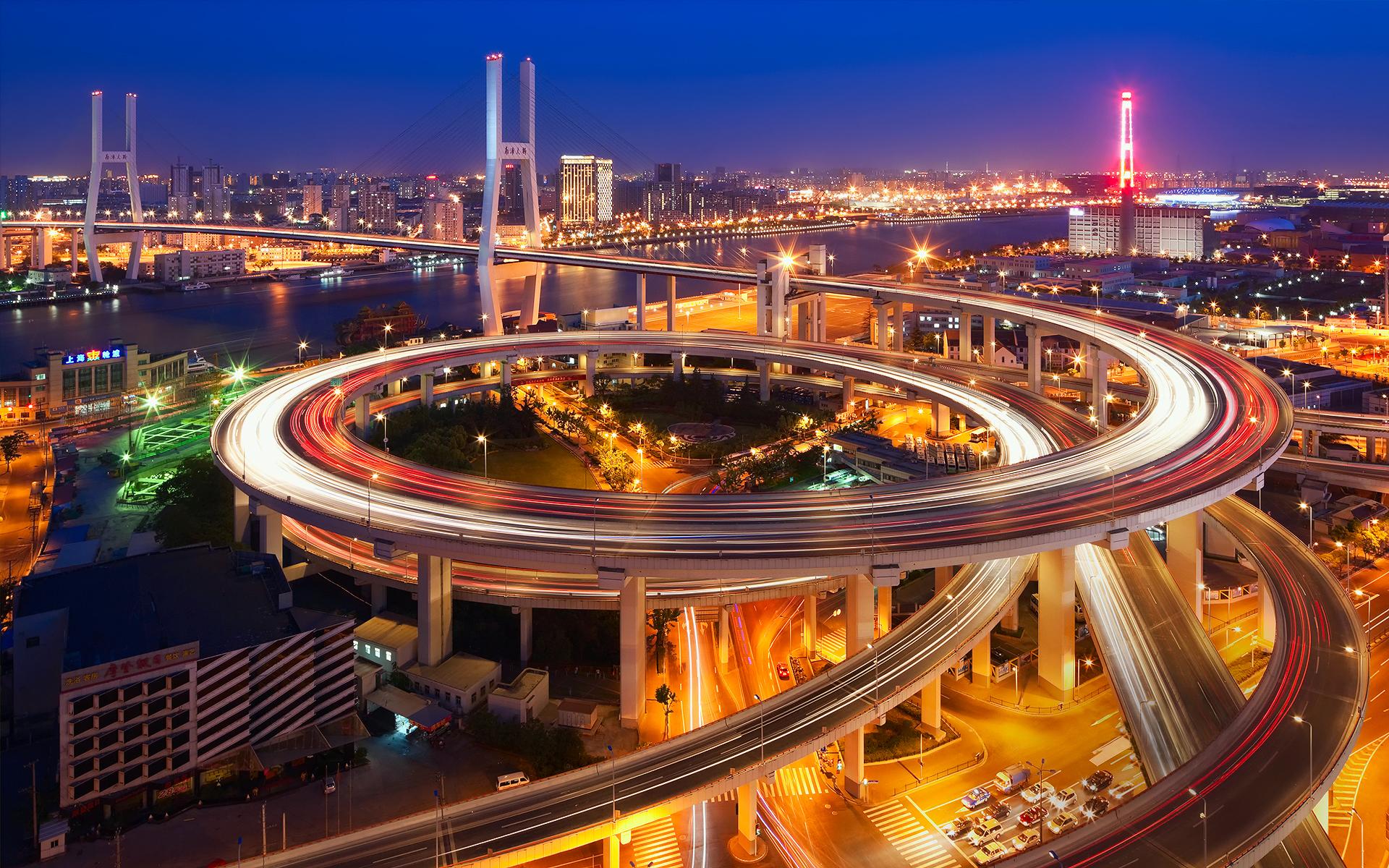 Wallpaper china the city of shanghai bridge nanpu bridge night 1920x1200