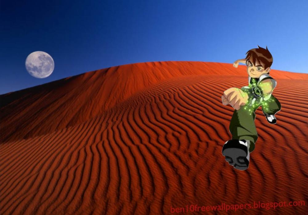 Ben 10 desktop Posters Wallpapers Teen Hero Running in Red Moon Desert 1000x700