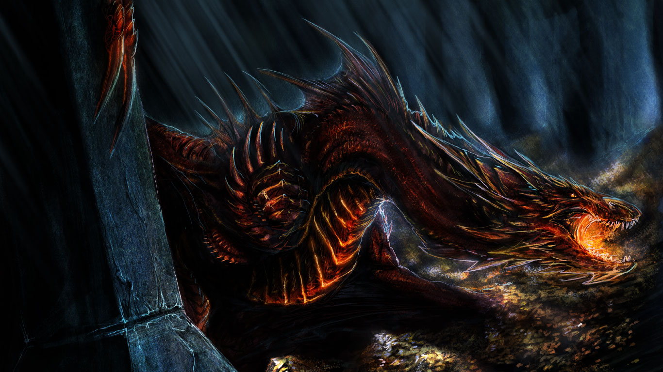 of the Five Armies 2014 Movie Smaug Desktop iPhone Wallpapers HD 1366x768