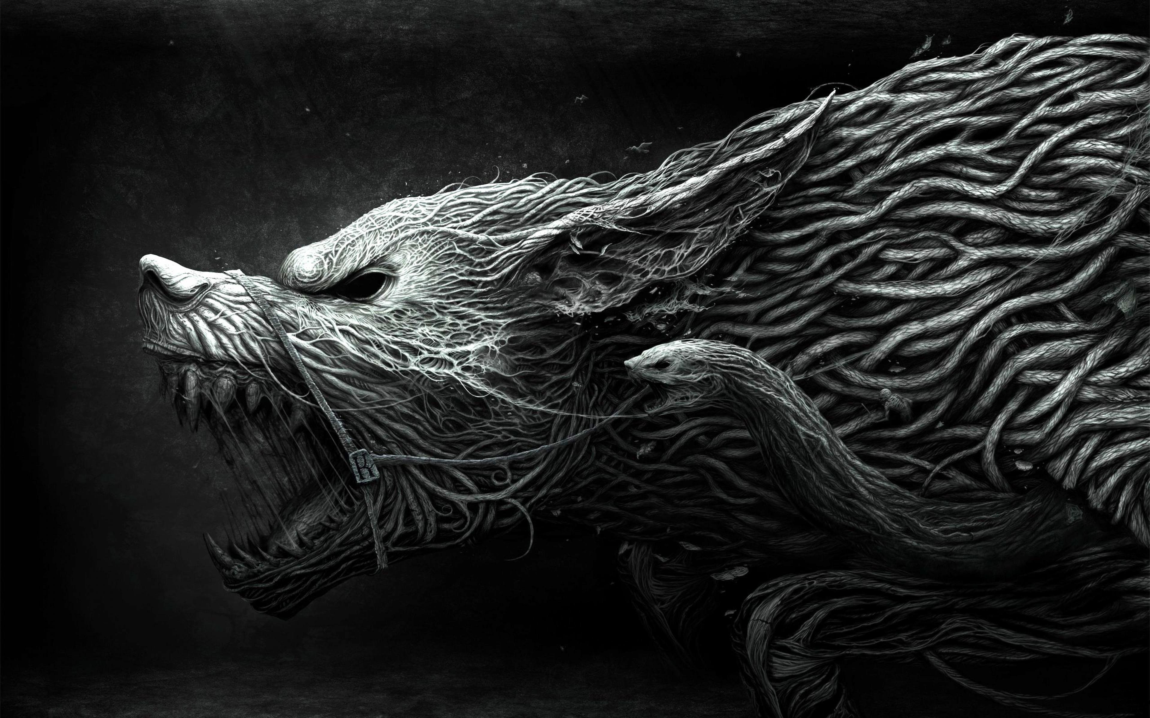 Download Wallpaper 3840x2400 Wolf Teeth Drawing Aggression Black 3840x2400