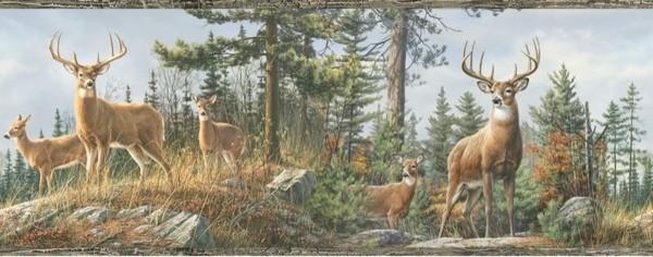 Crest Lodge Landscape Animal Wallpaper Border rustic wallpaper 600x236
