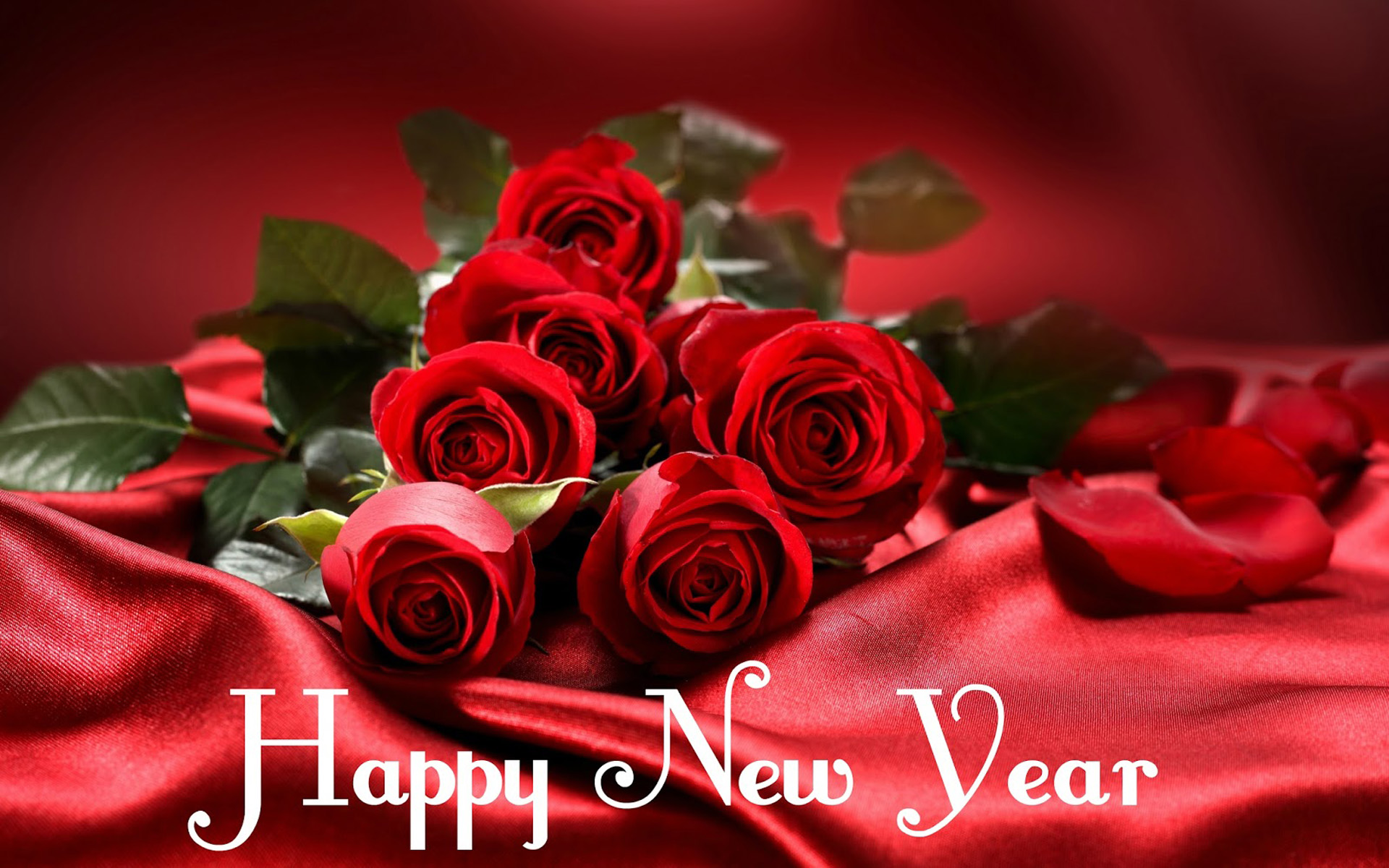 Happy New Year Red Roses Flower Images 2020 Greeting Card 1920x1200