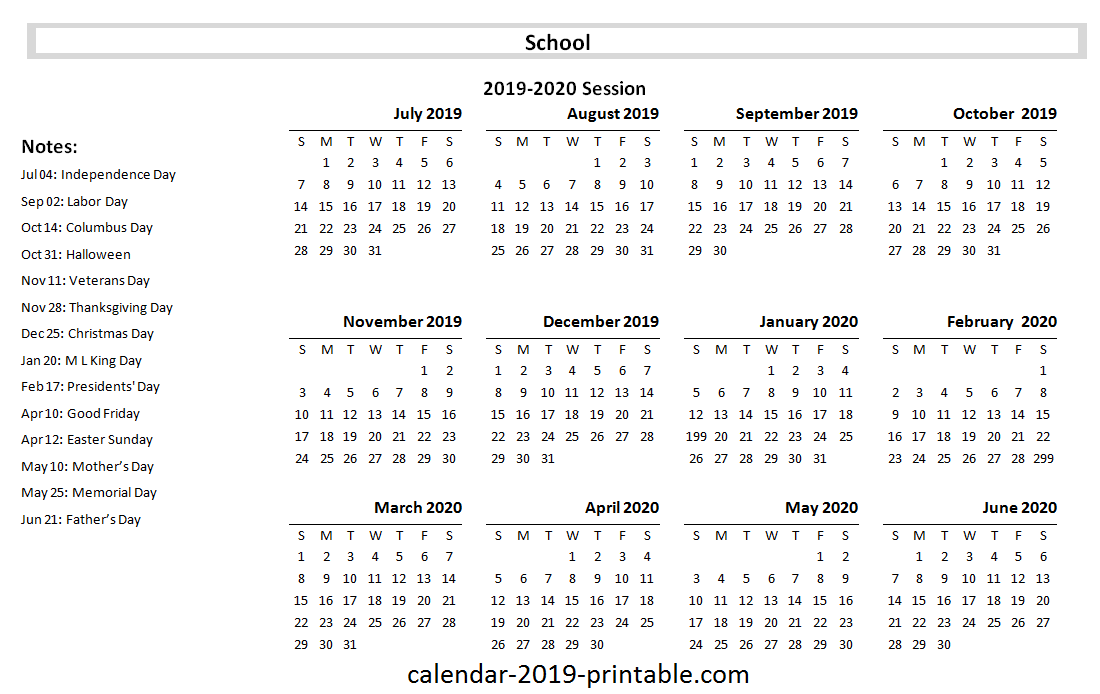 Free Download 2019 20 School Yearly Calendar 2019 Calendars