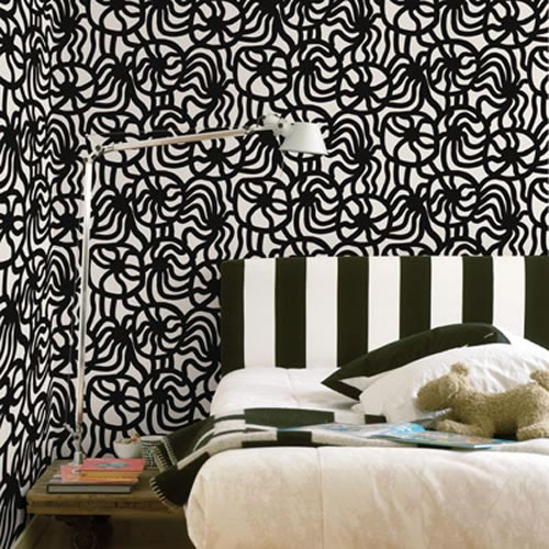 Home wallpaper murals   Black And White Bedroom Wallpaper Design Ideas 500x500