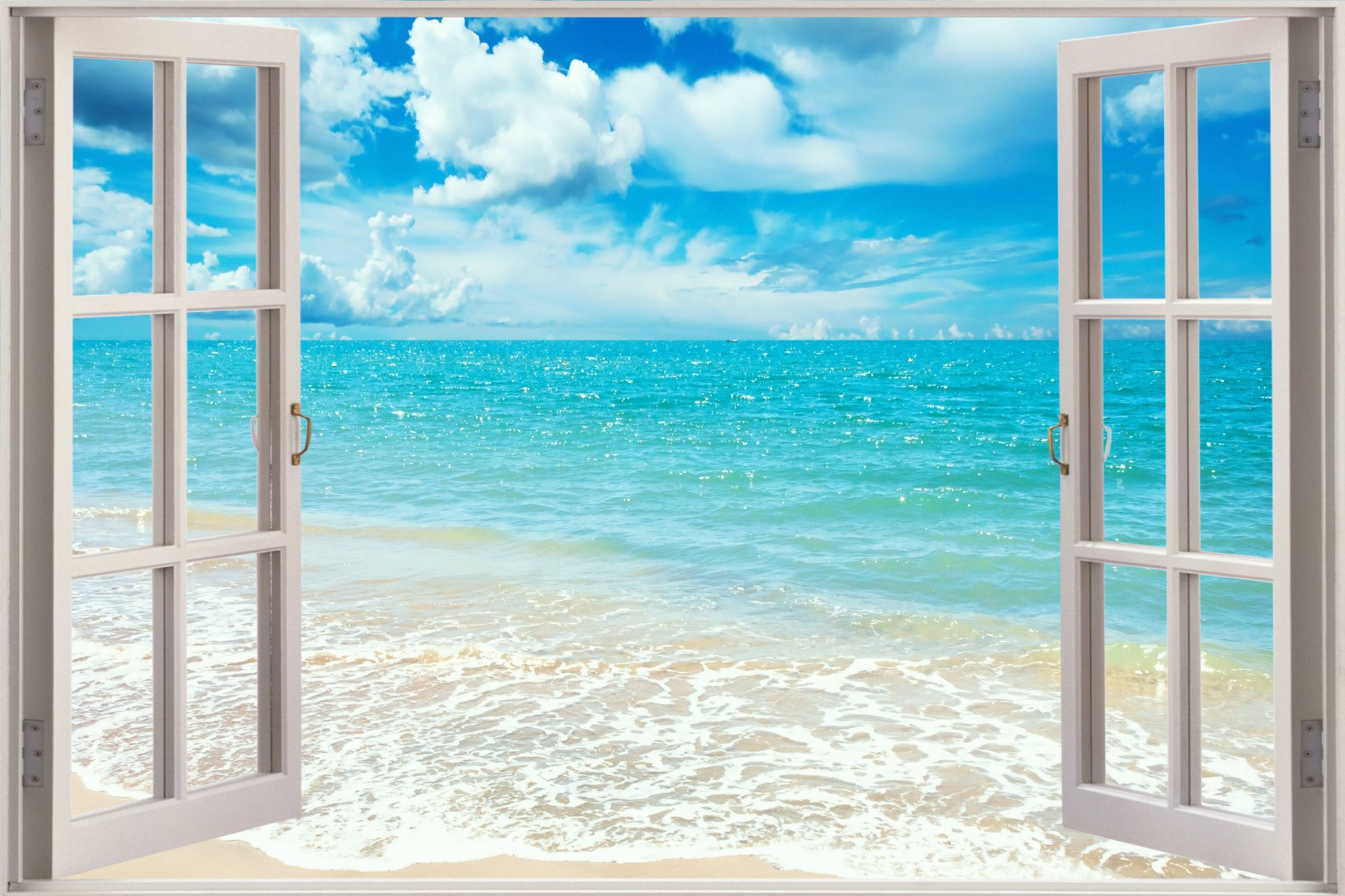 Cheap 3D Window view Exotic Beach sea Wall Sticker Decal Wallpaper S25