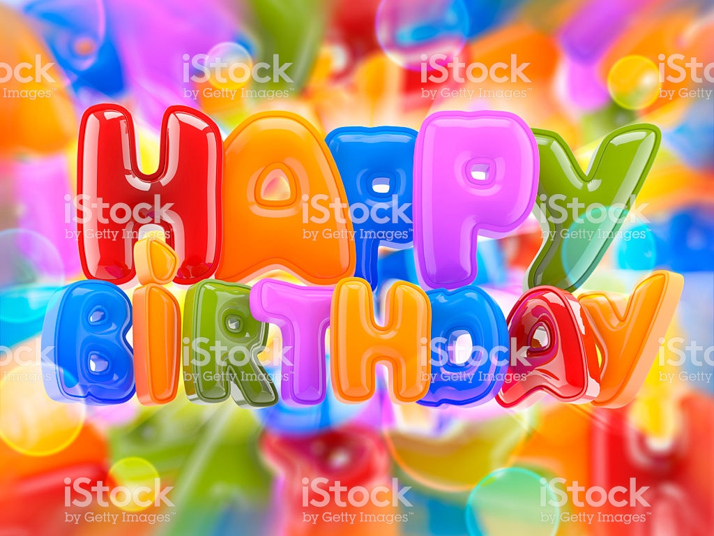 3d Happy Birthday Sign On A Motley Background Stock Photo 1024x768