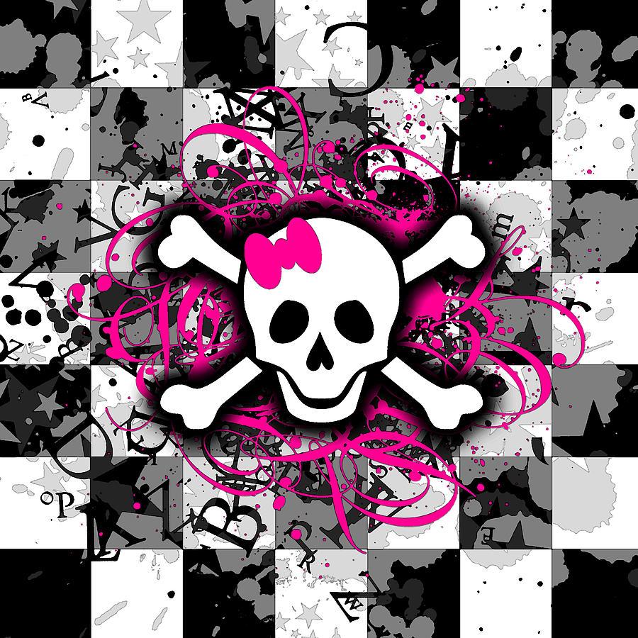 Home Digital Art Girly Skull Background 900x900