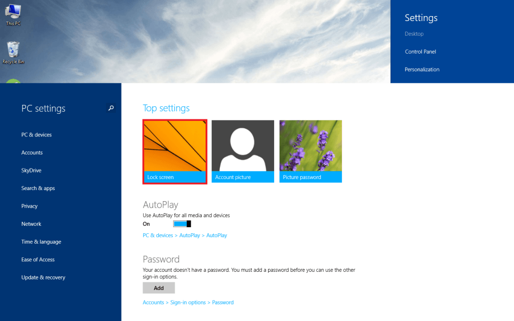 Lockscreen Windows 81 settings Techaddictive 1024x640