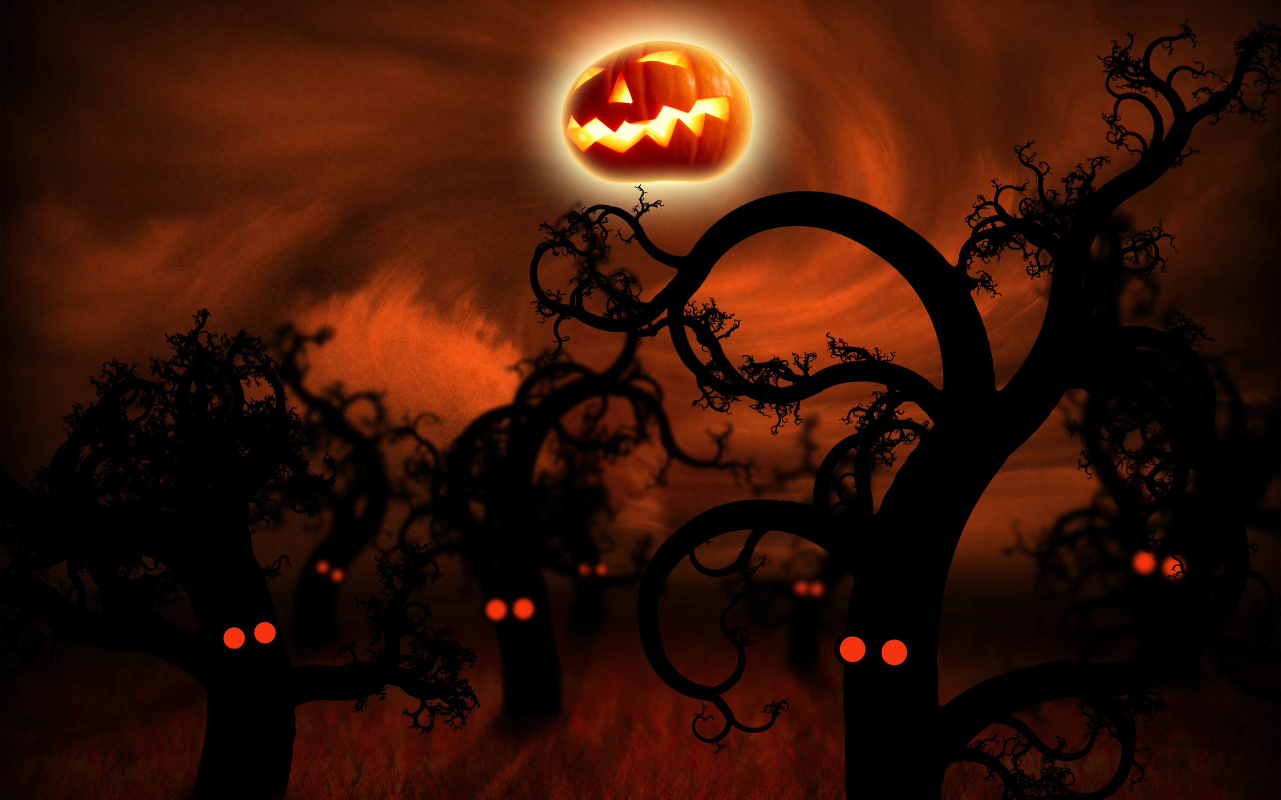 Midnight Forest Halloween Wallpapers HD Wallpapers 2560x1600