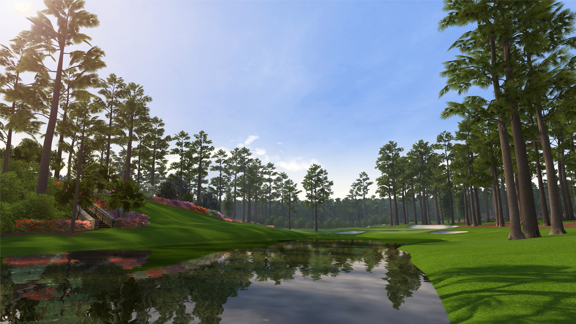 Golf Course Green Gras With Trees And Lake 1920x1080 HD Golf 1920x1080