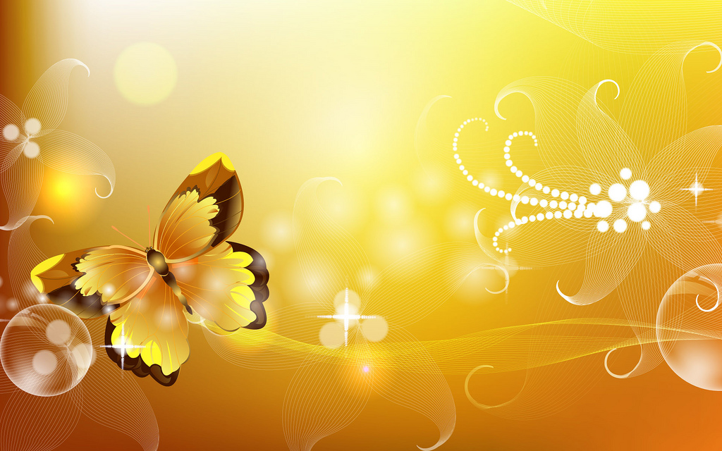 Gold abstract butterflies floral powerpoint background 1024x640