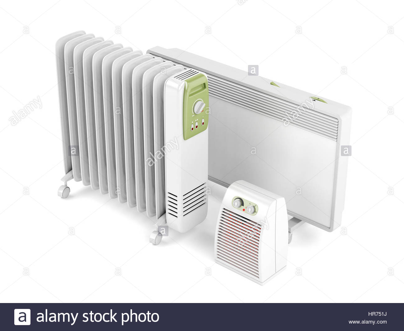 Fan oil filled and convection electric heaters on white 1300x1065