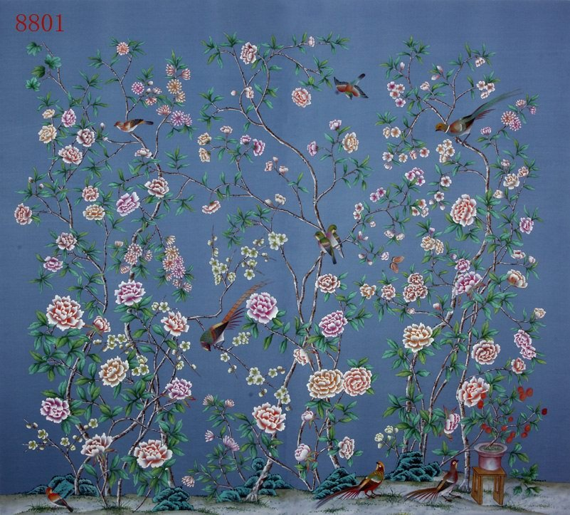 chinees behang hand painted Chinese Wallpaper Pinterest 801x723